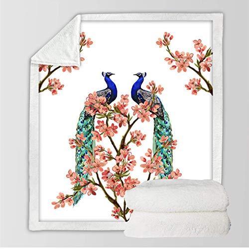 Cobija de pavo real para cama Blooming Sakura flor felpa colcha acuarela mullida ropa de cama polar manta edredón 150 x 200 cm