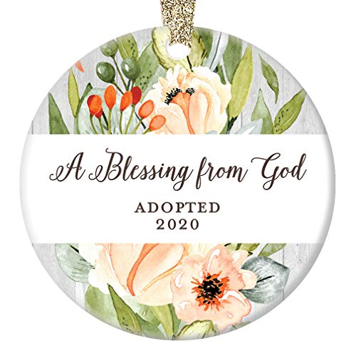 Adoption Christmas Ornament, A Blessing From God First Christmas Adopted 2020 1st Xmas Blessed Family Present Porcelain Baby Shower Ceramic Keepsake 3' Flat Circle with Gold Ribbon & Free Gift Box