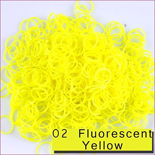 1800 Stück 72 Clips Bänder Nachfüller für Loom Rainbow Armbänder Dress Making 02 Fluorscent Yellow