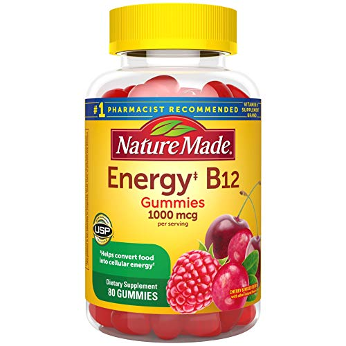 Nature Made Energy B12 1000 mcg Gummies, 80 Count for Metabolic Health