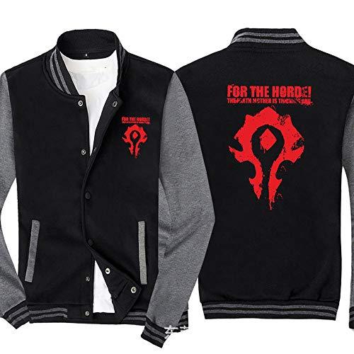 Männer Pullover Jacke Für Die Horde! Printed Sweatshirt Baseball-Trikot Langarm-Zip Trainingsjacken - Teen Gift Black Gray- 2XL