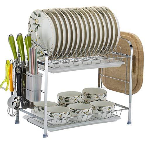 Escurridor de Platos, Estante de Acero al Carbono para Platos Estante de Almacenamiento Cocina Fregadero de Cocina Estante de Secado para Palillos Soporte para Bloques de Picar (Versión Mejorada)