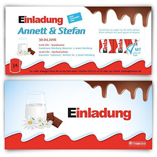 Hochzeitseinladungen (30 Stück) - Schokolade für Kinder – Einladungskarten zur Hochzeit