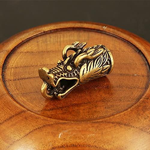 Mcottage Pure Cobre Dominio Zodiac Dragon Head Colgantes Hombres Coche Llavero Anillo Colgante Latón Dragón DIY Llavero Pieza Joyería