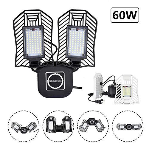 60 W, 6000 lumen, led-garageverlichting, vervormbare led-panelen plafondlampen, oplaadlicht waterdicht IP65 met stekker voor werkplaats, industriële lamp, klem, kelder, magazijn, enz. S 60w Noir