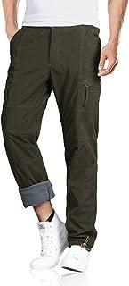 EKLENTSON Men's Straight Leg Elastic Waist Windproof Polar Fleece Lined Casual Cargo Pants with Zip Pockets