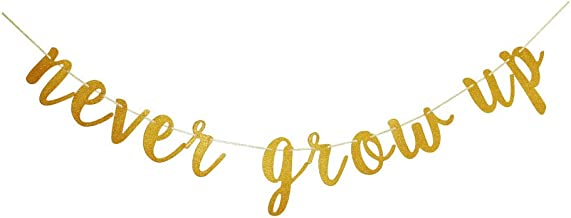 Never Grow Up Banner, Kids Baby Birthday Party Sign Supplies, Gold Birthday Party Decorations