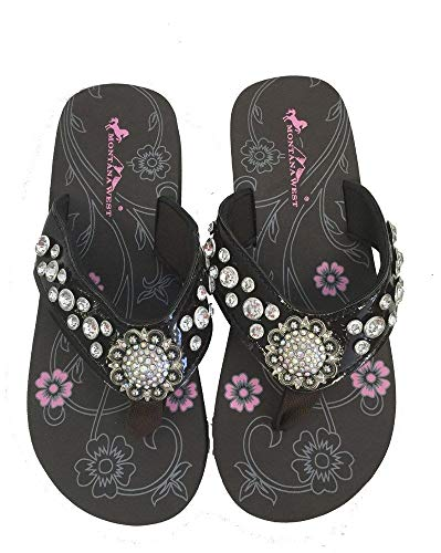 Montana West Brand Montana West Women Flip Flops Shiny Bling Sandals Crystals Floral Concho Coffee, 8