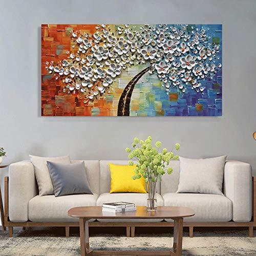SHYHSCLBD olieverfschilderij op canvas handgeschilderd, abstracte plant boom, mooie dikke witte bloemen in bruine stam, hedendaagse grote handgeschilderde kunstwerken schilderij voor huis woonkamer slaapkamer 120×240cm