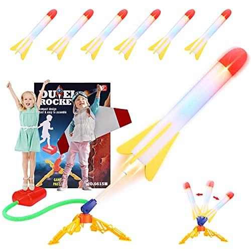 Rakete Spielzeug,Druckluftrakete,Garten Spielzeug,Outdoor Spiele für Kindermit 6 leuchtenden Schaumraketen,Gartenspiele kinderspielzeug für Geschenke Kinder 3-12,für Familientreffen/Spiele im Freien