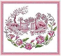 初心者のためのクロスステッチ刺繡キット11CTト クラシカルなスタイル印刷クロスステッチ刺繍セットDIY大人のシンプルな手作り家の装飾( 花の風景 )
