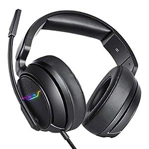 Xiberia - Cuffie per Xbox One e PS4, cuffie da gioco, cuffie stereo surround da 3,5 mm, con microfono, con imbottitura morbida, per PC, laptop, videogiochi, con microfono regolabile e controllo volume