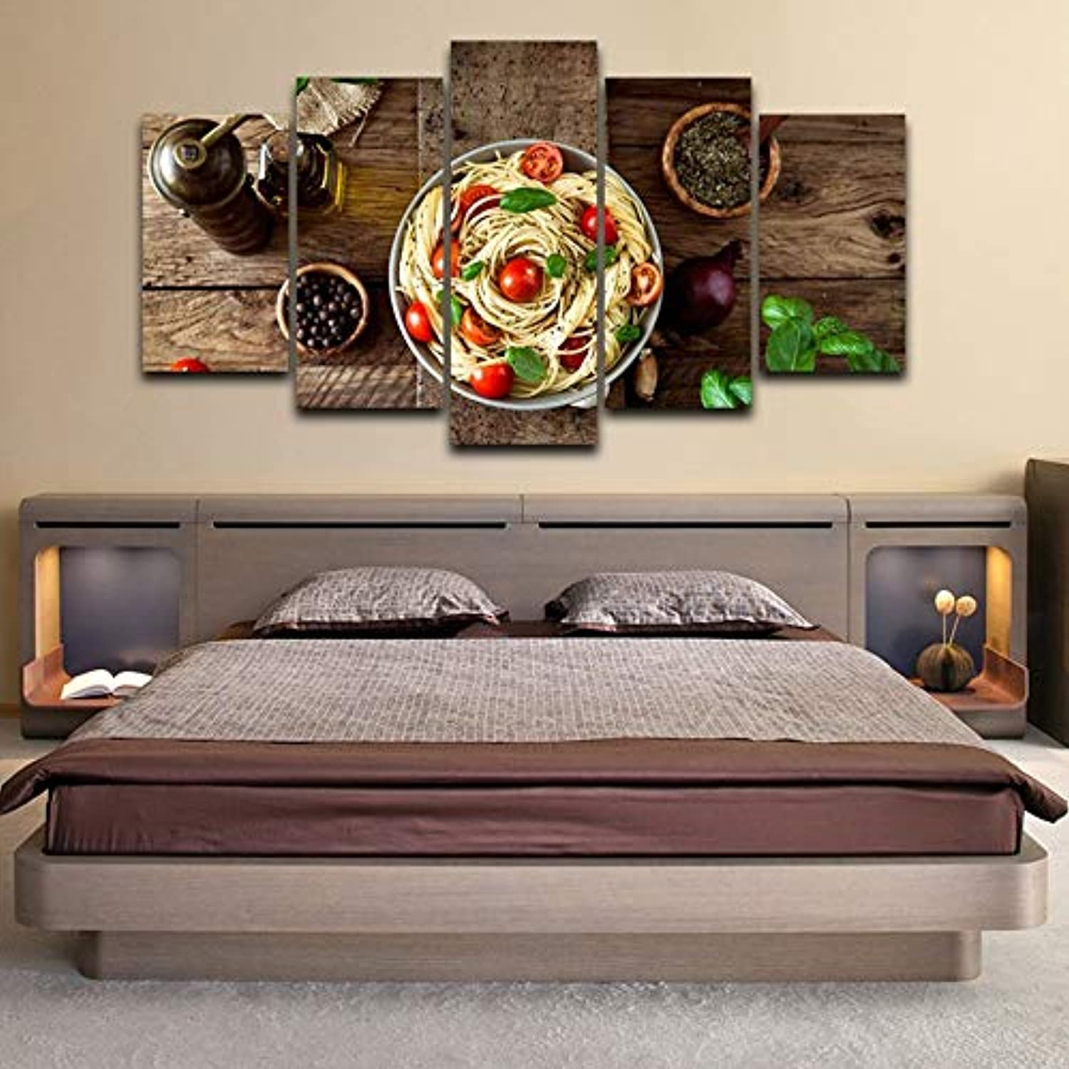 LONLLHB Painting Modular Home Decor Canvas Pictures 5 Piece Kitchen Pasta Olive Oil Garlic Paintings Kitchen Hd Prints Poster Wall Art