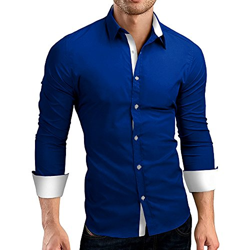 Xmiral Herrenhemd Top Herbst Casual Formal Color Block Slim Fit Langarmbluse Gut aussehend Gentleman Arbeitskleidung(L,Blau)