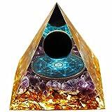 Orgonite Pyramids Obsidian&Amethyst Nubian Orgone Healing Crystal Pyramid Energy Generator E-Emission Protection Reiki Positive Energy Chakra Meditation