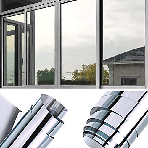 TTMOW Sichtschutzfolie Fenster, Spiegelfolie Selbstklebend, One Way Spiegel Reflektierende Fensterfolie, 99% UV-Schutz, 83% Sonnenschutz Wärmeisolierung, für Zuhause und Büro (Silber, 90x400cm)