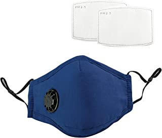 Eccomum 1 Mouth Cover with 2 Filters Blue Dustproof with Breathing Valve Washable Reusable Stop Fog Mouth Safe Isolation Face protection