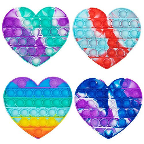 Pop Push tie dye Bubble Sensory Fidget Toy Autism Special Needs Stress Reliever - Great for The Old and The Young (Heart)