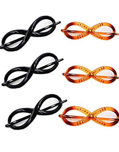 """Prettyou Small Size 4.7"""" no slip Effortless Twist hair clips for women, pack of 6"""