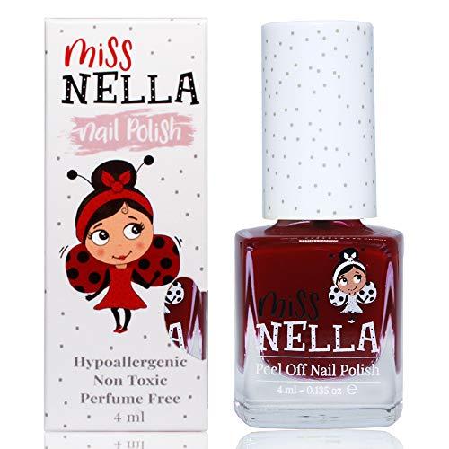 Miss Nella FAV TEACHER- Spezieller Bordeaux Nagellack für Kinder, Peel-Off-Formel, wasserbasiert und geruchsneutral