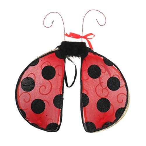 Sharplace Enfant Fille Garçon Costume Ailes de Fée Thème Insecte Déguisement pour Anniversaire Fête Parties - Coccinelle