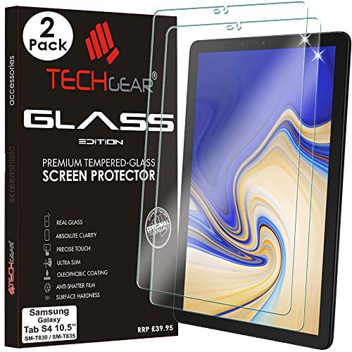 TECHGEAR [2 Pack] Screen Protector fits Samsung Galaxy Tab S4 10.5 Inch (SM-T830 / SM-T835) - GLASS Edition Genuine Tempered Glass Screen Protector Guard Cover Compatible with Galaxy Tab S4 10.5'