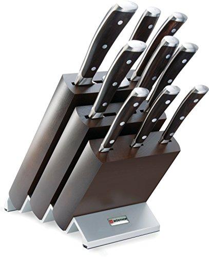 Wüsthof Messerblock, Ikon (9865), Design-Holzblock aus brauner Esche mit 7 Kochmessern, 1 Fleischgabel und 1 Wetzstahl, Küchenmesser-Set