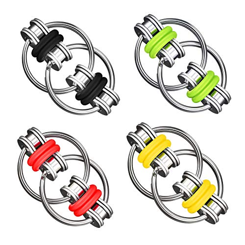 Virtue morals 4 Pieces Stress Relief Chain Flippy Chain Fidget Toy, Cool Mini Gadget Best for Stress and Anxiety Relief Great for ADD, ADHD and Autism (Yellow, Red, Green and Black)
