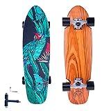 "FlyBee&SKOCHO Complete-Standard Cruiser-Skateboards for Teens Adults-Beginners - 28""x8"" Mini Short Skateboard |Canadian Maple Deck?Parrot"