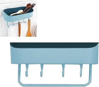 INTVN Estanteria Baño, 1 Piezas Estanteria Ducha Autoadhesivo Organizador Cocina Baño Sin Taladro Estantes de Pared Cesta con Cuatro Ganchos, para Baño Cocina Muebles de Baño Azul