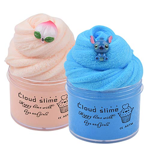 2 Pack Cloud Slime Kit with Blue Stitch and Peach Charms, Scented DIY Slime Supplies for Girls and Boys, Stress Relief Toy for Kids Education, Party Favor, Gift and Birthday