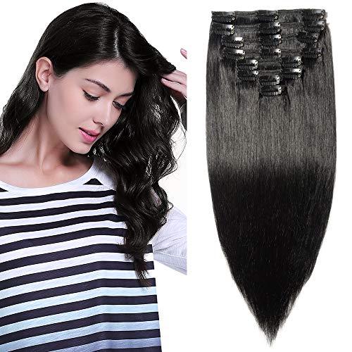 Clip in Extensions Echthaar Remy Haarverlängerung für komplette Haare 8 Tressen Doppelt Dicke 55cm-160g(#1 Schwarz)