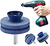 Xergur Lawn Mower Blade Sharpener - Lawn Mower Sharpener, Double Layer Corundum Lawn Mower Blade Sharpener, Universal Wear Lawnmower Blade Sharpener for Any Power Drill/Hand Drill【2020 New 4Pack】