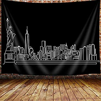 New York Skyline Tapestry American City Silhouette Abstract Urban Line Upgrade Tapestries Wall Hanging for Bedroom College Dorm TV Backdrop Table Cloth Profession Home Decor 71X60 Inches