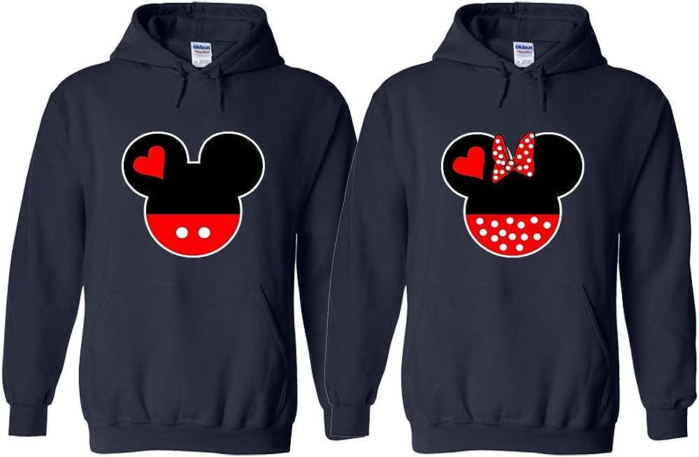 Disney Mickey Minnie Mouse Design Couples Sweatshirt Hoodies Graphic Hoody Tops