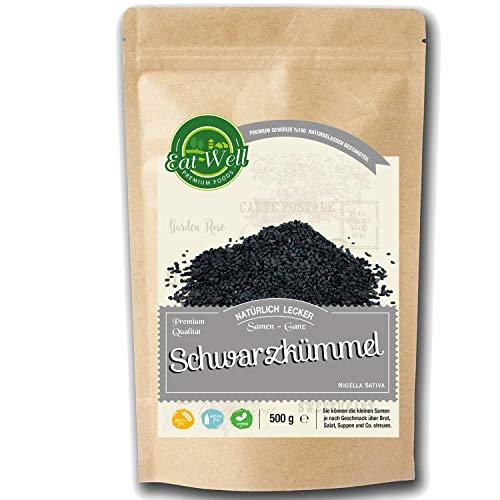 Schwarzkümmel Samen (500g) I Schwarz kümmel samen ganz (Nigella Sativa ) I Enthält das höchste Thymochinon (TQ) • Rohe & Ganze rein - natürliche Türkische Schwarzkümmelsamen I Eat Well Premium Foods