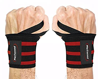 """Rip Toned Wrist Wraps - 18"""" Professional Grade with Thumb Loops - Wrist Support Braces - Men & Women - Weight Lifting, Crossfit, Powerlifting, Strength Training (Red – Less Stiff)"""