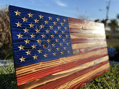 Handmade American Wood Flag   FREE Personalize Option   3D Carved Stars   Indoor Outdoor   3 Sizes   Wooden Flag Made to Order in USA Rustic Wall Art Decor Great Gift!!