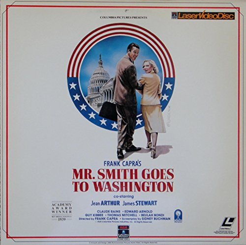 Laserdisc of MR SMITH GOES TO WASHINGTON with Jimmy Stewart, Jean Arthur, Claude Rains, Edward Arnold, Guy Kibbee, Thomas Mitchell and Harry Carry.