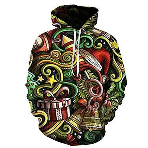 XDJSD Suéter para Hombre Talla Grande Chaqueta Suéter con Estampado Navideño Camiseta De Manga Larga De Papá Noel para Hombre Traje De Pareja con Capucha Y Estampado De Renos