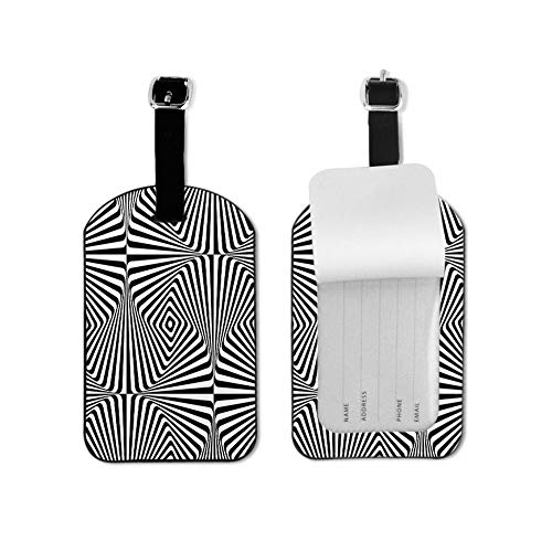 Moire Pattern Luggage Tag with Cubic Lattice Lines Monochrome Graphic Black and White Ornament Travel ID Label Leather for Baggage Suitcase Travel Accessories Bag Name Tags 1 Piece