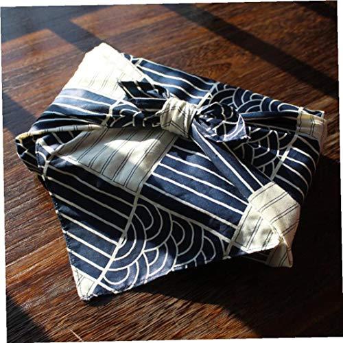 lulongyansf Japan Wickeln Sie Das Tuch Aus Baumwolle Leinen Furoshiki/Japan Klassische Traditionart Welle Gedruckt/Vielfältigen Einsatzmöglichkeiten Komfortable Versorgung