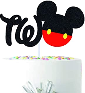 Mickey 2nd Birthday Cake Topper , Baby Boy Two Years Old Theme Party Decoration , Double Sided Glitter