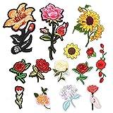 toppe termoadesive rosa, 14pcs patches ricamato rose fiore, toppe per vestiti fiori, fai da te patch, toppe per vestiti termoadesive bambini per giubbotti jeans zaini maglietta