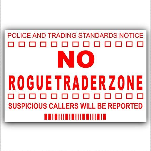 Geen Rogue Traders Zone-Red op White-Cold bellers, verkoper bellen waarschuwing huis Sticker-zelfklevende Vinyl-deur of externe venster teken