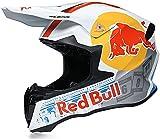Casco Motocross,Casco de Cross Red Bull Casco Integral Moto Protección Cabeza Cascos ECE Homologado Anti Niebla Protección UV Casco Protector de Color Motocross Clásico Casco B,L