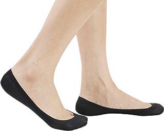 Pelisy, Calcetines Mujer Invisibles Algodon Cortos Antideslizante Transpirable con Silicona 4 Pares