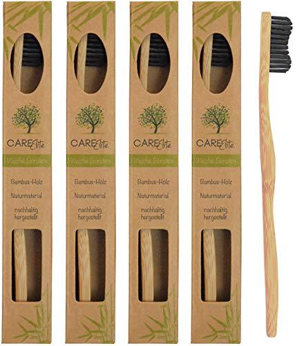 4er-Pack Holzzahnbürste aus nachhaltigem Bambus-Holz BPA-freie Bambus Holzzahnbürste, plastikfrei verpackte Bambus-Zahnbürste Zahnbürste mit Bambus-Holzkohle für gesunde und weiße Zähne