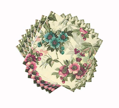 WallyE - Servilletas de papel con estampado floral, color menta, Paquete de 20 unidades., 20