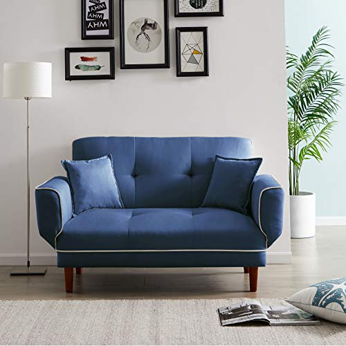 Convertible Futon Sofa Bed with 2 Pillows, Twin Size Sleeper Sofa Futon Couch, Recliner Couch with Adjustable Armrest and Wood Legs, Living Room Sofa with 5-Angle Backrest for Small Space (Navy Blue)